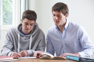 Teenage Boy Studying With Home Tutor